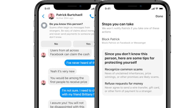 Facebook Messenger pop-ups warn users about scams
